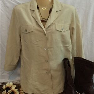 Emma James Soft Casual Tan Button Down Shirt